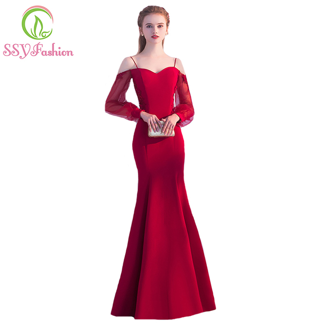SSYFashion New Simple Sexy Red Mermaid Long Evening Dress The Banquet  Sweetheart Long Sleeved Backless Fishtail Prom Party Gown 038ed28cada2