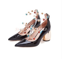 Chic Metal High Heel Shoes Women Transparent Pvc Woman Pumps Color Rivets Embellished Back Zipper Patent Leather