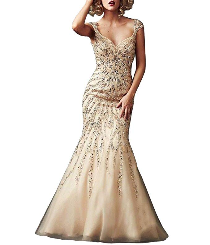 2019 Rhinestones Sweetheart Capped Sleeves Zipper Mermaid Tulle Prom Dress Vestidos De Festa