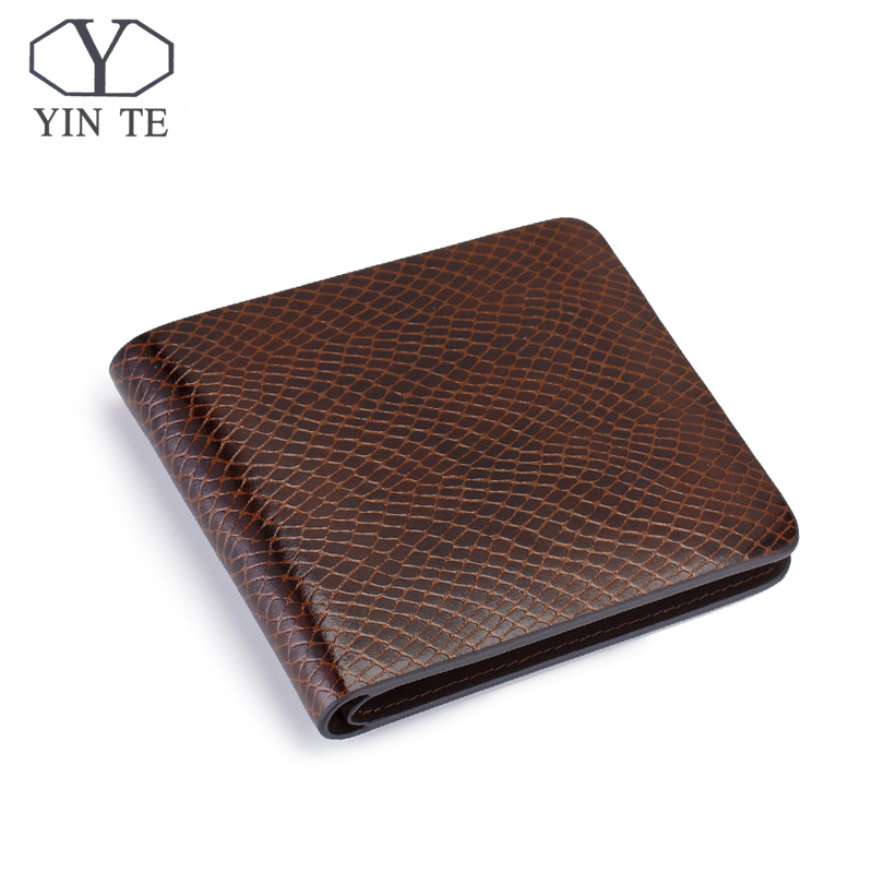 YITNE Fashion Men Short Wallets Brown Bifold Wallet Mens Luxury Brand Leather Card Holder Money Cash Wallet Purses Pockets W608C
