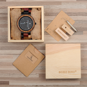 Image 5 - BOBO BIRD Antique Mens Wood Watches Date and Week Display Business Watch with Unique Mixed Color Wooden Band anniversary gift