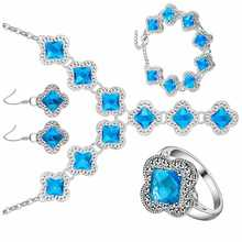 A thick silver plating plated jewelry set 925 temperament Aquamarine wholesale fashion set.