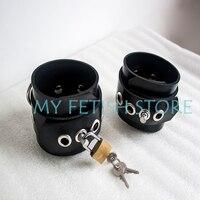 (Dm289) 100% натурального латекса ручной работы резиновая наручники ведомого повязки может быть заблокирован handwear фетиш