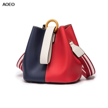 AOEO Korean Version Of The Fashion Color Bucket Bag For Women 2019 New Women's Bag Girls Shoulder Messenger Bag women s new korean version of the color fashion leather shoulder bag trend women s new version of the color leather fashion shou