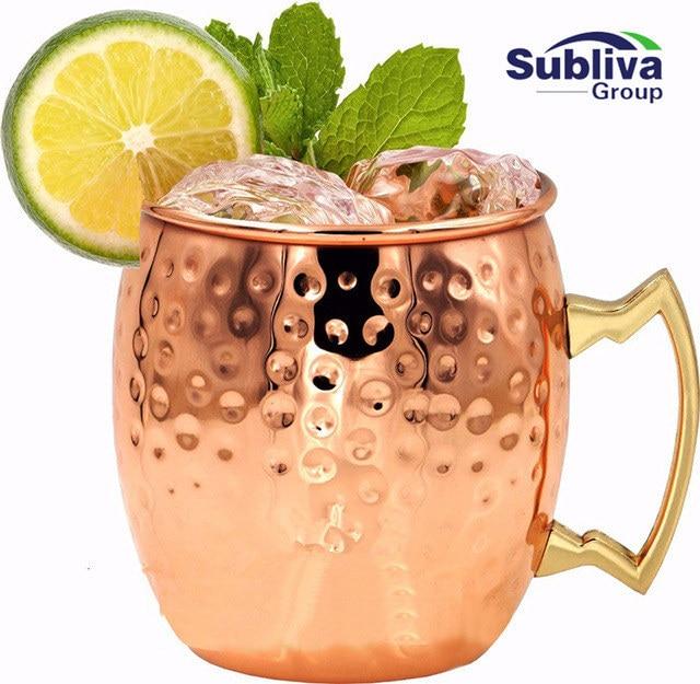 Hammered Moscow Mule Copper Mugs 304 Stainless Steel 550ml Drum Type Beer Mug Water Glass Drinkware