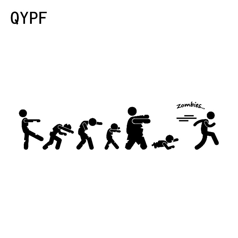 QYPF 18.9*4.5CM Interesting Zombies On The Run Novelty Walking Graphic Decor Car Bumper Stickers C16-0781