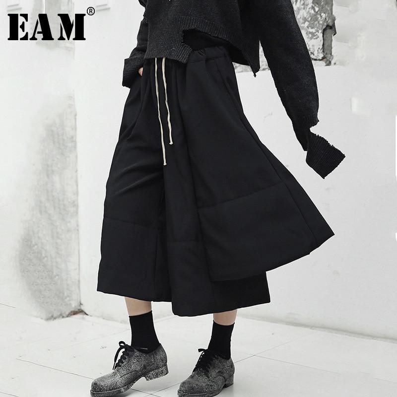 EAM 2019 New Spring High Elastic Waist Black Loose Irregular Split Joint Wide Leg Pants