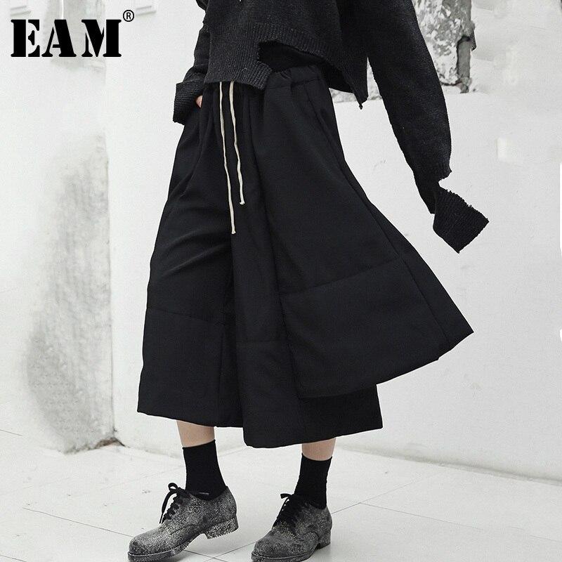 [EAM] 2019 New Spring High Elastic Waist Black Loose Irregular Split Joint   Wide     Leg     Pants   Women Trousers Fashion JI501