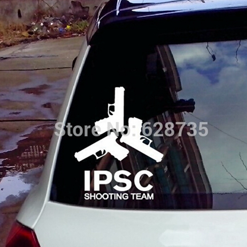 """Fashion Cool Vinyl Wall Sticker – Waterproof Gun """"IPSC SHOOTING TEAM"""" Decals For The Whole Car Body Decoration Free Shipping"""