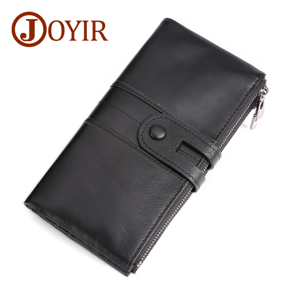 100% Genuine Leather Wallets Brand Designed Women Purse Unisex Long Clutch Men Zipper and Hasp RFID Wallets