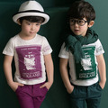 size90~130 Children t-shirts boys tops tees child summer short sleeve t shirts letters