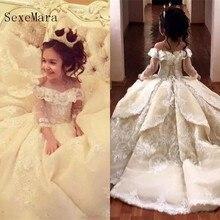 Винтажные кружевные пышные платья; платье с цветочным узором для девочек; бальное платье с открытыми плечами и длинным рукавом; детское платье для первого причастия