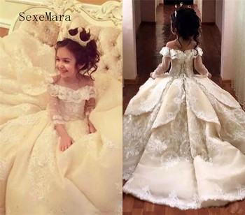 Vintage Lace Pageant Dresses Flower Girl Dress Off Shoulder Sweep Train Long Sleeves Ball Gown Kid First Communion Dress vintage long train tiered floral first communion flower girl dress kid toddler backless evening prom gown party occasion frocks