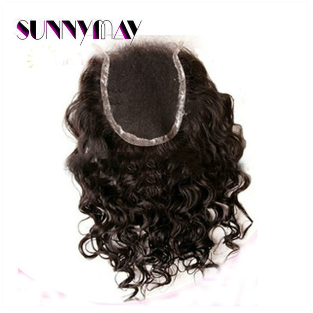 Sunnymay Curly Closure4*4 Brazilian Virgin Human Curly Hair With Closure 7A+ Grade Natural Black Lace Top Closure
