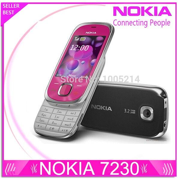 Восстановленное в Исходном Nokia 7230 мобильный телефон 3.2MP Камера Bluetooth FM JAVA MP3 Поддержка Русская клавиатура восстановленное