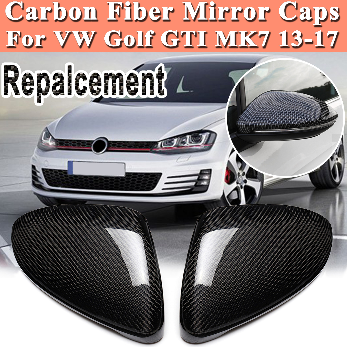 Real Carbon Fiber Rearview Door Side View Mirror Car Wing Mirror Replacement Cover Caps for VW Golf GTI MK7 2013 17 high quality golf 6 mk6 carbon fiber full replacement car review mirror cover caps for vw golf6 mk6