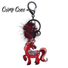 Cring Coco Hot Selling Colorful Horse Key Chain for Men and Women Red Pompom Enamel Animals Girls Handbag Keyring keychains