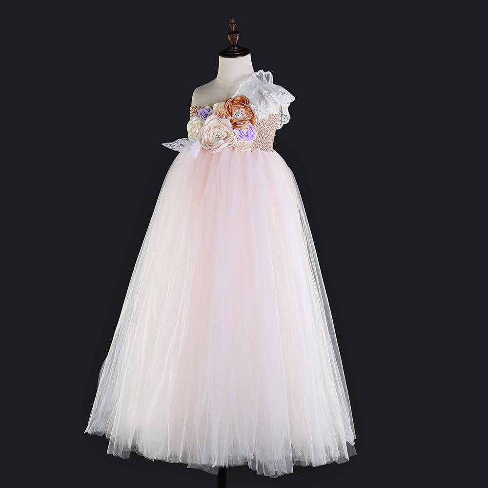 Flower Girls One Shoulder Toddler Party Dress Beige Top Pink White Polyester Tulle Lace Evening Dresses Vintage Dress Kids Tutu (2)