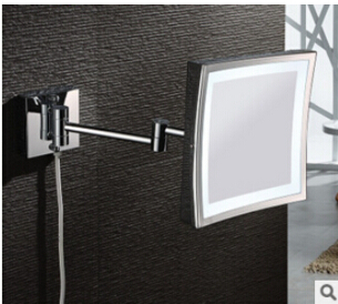Bathroom Chrome Wall Mounted 8 inch Brass one face 3X Square Bath Led Mirror Folding Makeup Mirror Cosmetic Mirror Lady Gift