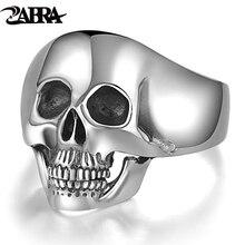 Prawdziwe srebro 925 srebrna czaszka pierścienie dla mężczyzn dominujący ząb Vintage Punk Rock Gothic Bague Argent moda Anel Masculino