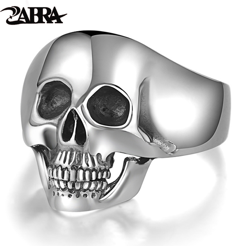 Real Sterling 925 Silver Skull Rings For Men Domineering Tand Vintage Punk Rock Gothic Bague Argent Mode Anel Masculino