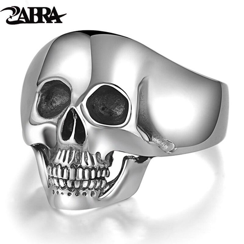 Reale 925 Silver Cranio Anelli Per Gli Uomini Prepotente Dente Argent Dell'annata della Roccia Punk Gotico Bague Moda Anel Masculino