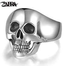 Reale 925 Silver Cranio Anelli Per Gli Uomini Prepotente Dente Argent Dellannata della Roccia Punk Gotico Bague Moda Anel Masculino