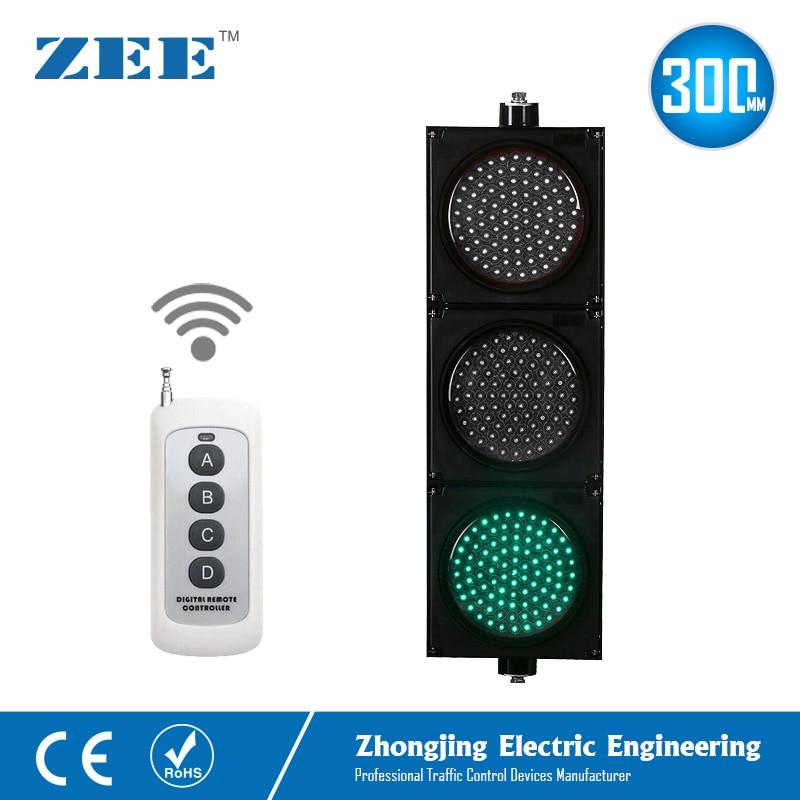 220V 110V 12V 24V Wireless Control LED Traffic Light 12inches 300mm LED Traffic Signal Light Red Green Amber Traffic Signals