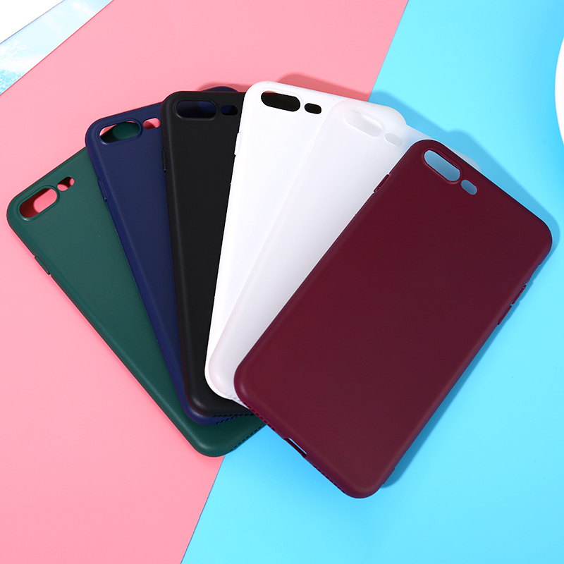 KMUYSL Color Ultra Thin Frosted Matte Phone Case For iPhone 7 8 Plus 6 6s X Plus 5 5S Original Soft Silicone Candy Back Cover