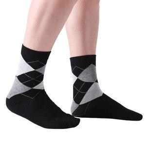 Image 3 - MYORED 10 pair/lot Mens socks solid color Cotton Socks Argyle pattern crew socks for business dress casual funny long socks