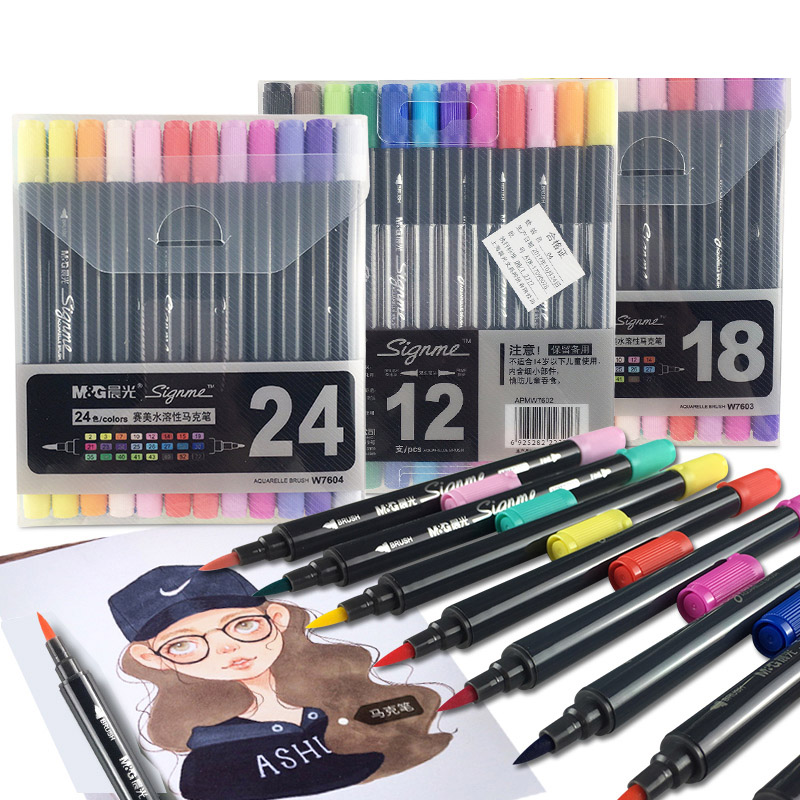 12/18/24 Colors Art Marker Pen Double tips Watercolor Brush Markers for Artist Manga Painting Drawing Supplies12/18/24 Colors Art Marker Pen Double tips Watercolor Brush Markers for Artist Manga Painting Drawing Supplies