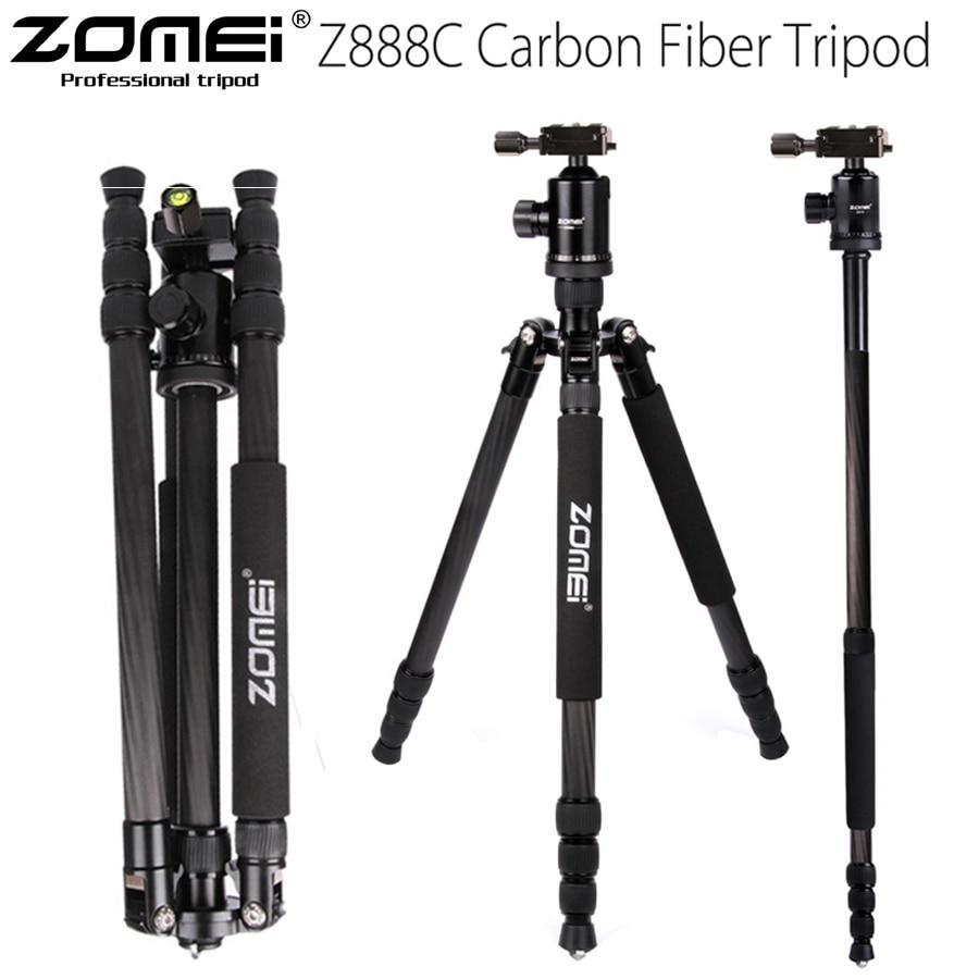 ZOMEI Z888C Professional Carbon Fiber Travel tripod camera Monopod Stand & Ball head with Bag for DSLR camera