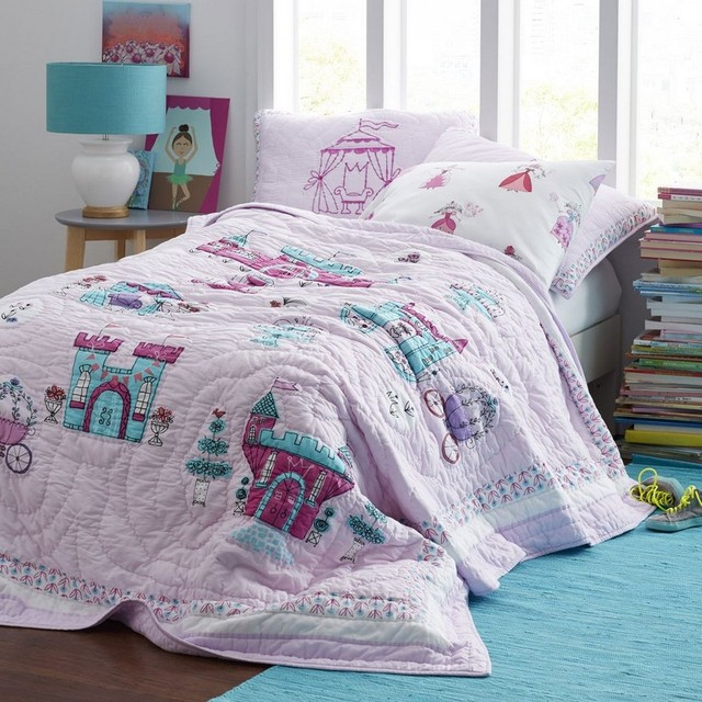 CHAUSUB Princess Palace Handmade Patchwork Quilt Set 3PCS Cotton Quilts  Kids Quilted Bedspread Coverlet Bed Cover
