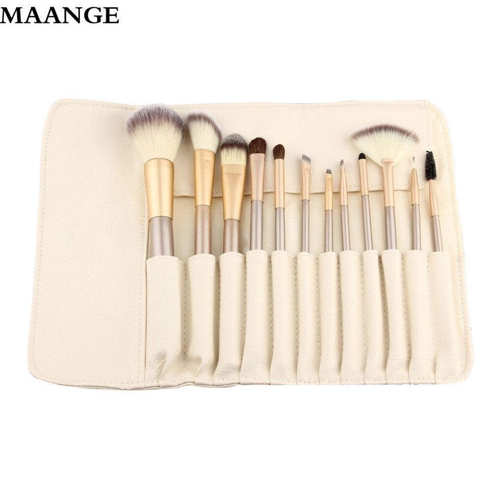 12pcs Rose gold Makeup Brushes set Foundation Eyeshadow eyebrow professional make up brush Cosmetics with Leather
