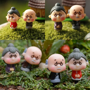 2021 Figures Dolls Grandfather Grandmother PVC DIY Ornaments Bonsai Home Decoration Random Delivery Mini Small House Cottages image