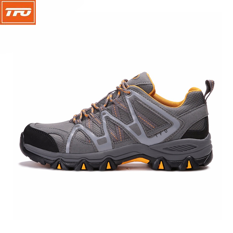 TFO Hiking <font><b>Shoes</b></font> Outdoor climbing mountain <font><b>Men</b></font> travel camping Black Gray Breathable Lightweight Cushioning Non-slip Sneakers