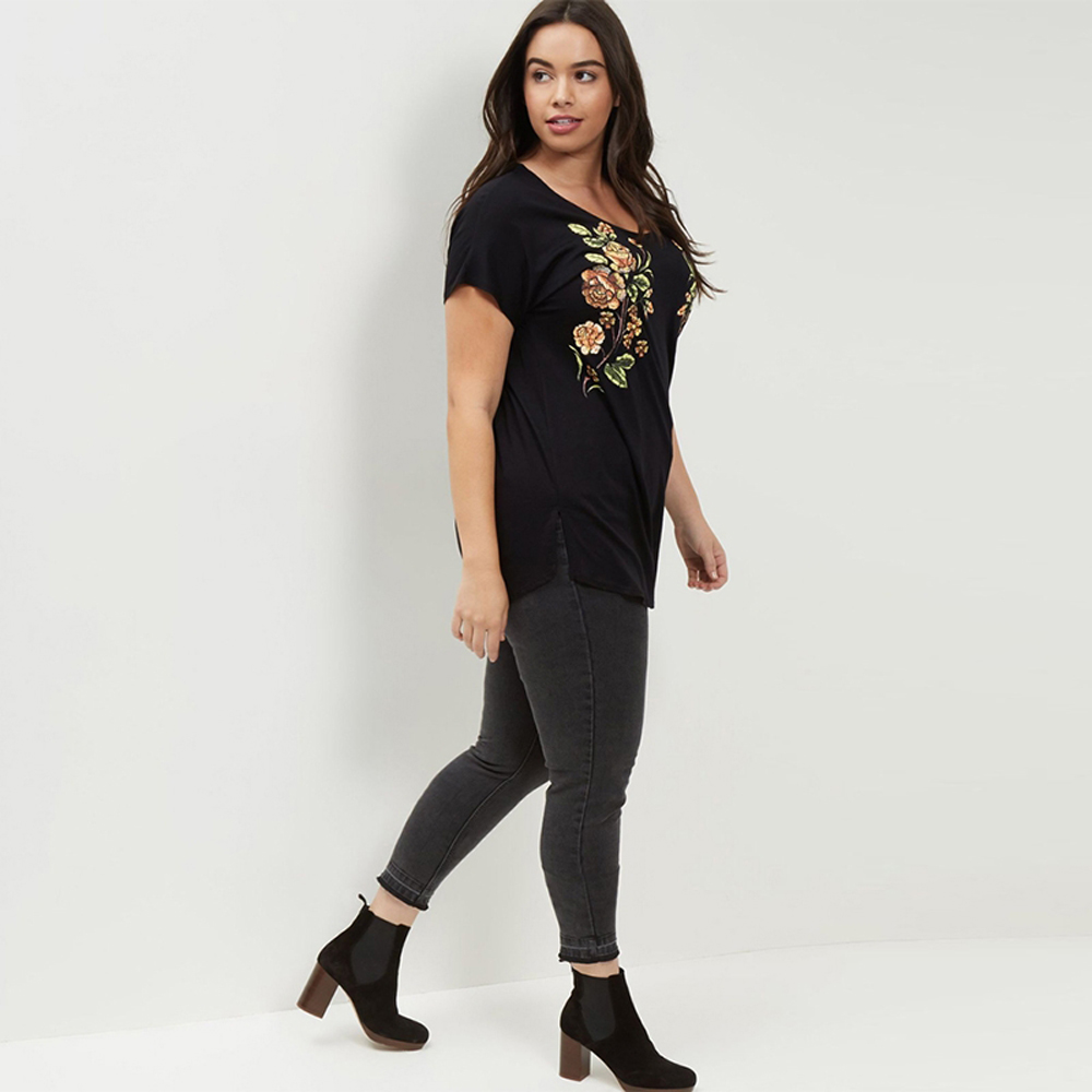 80b3d5436e6 Kissmilk Plus Size 2018 New Fashion Women Clothing Casual Short Sleeve O  Neck Split Side Floral Embroidery T shirt -in T-Shirts from Women s  Clothing on ...