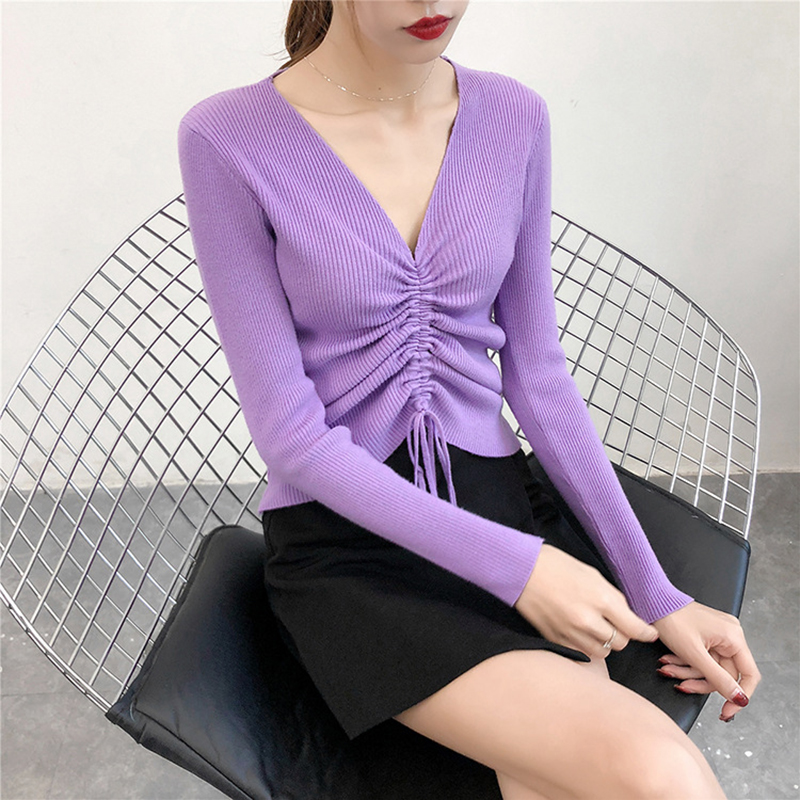 GOPLUS Autumn Winter Lace up Knitting Sweaters Women Sexy V Neck Slim Long Sleeve Elasticity Jumper Solid Pullovers Female Top 8