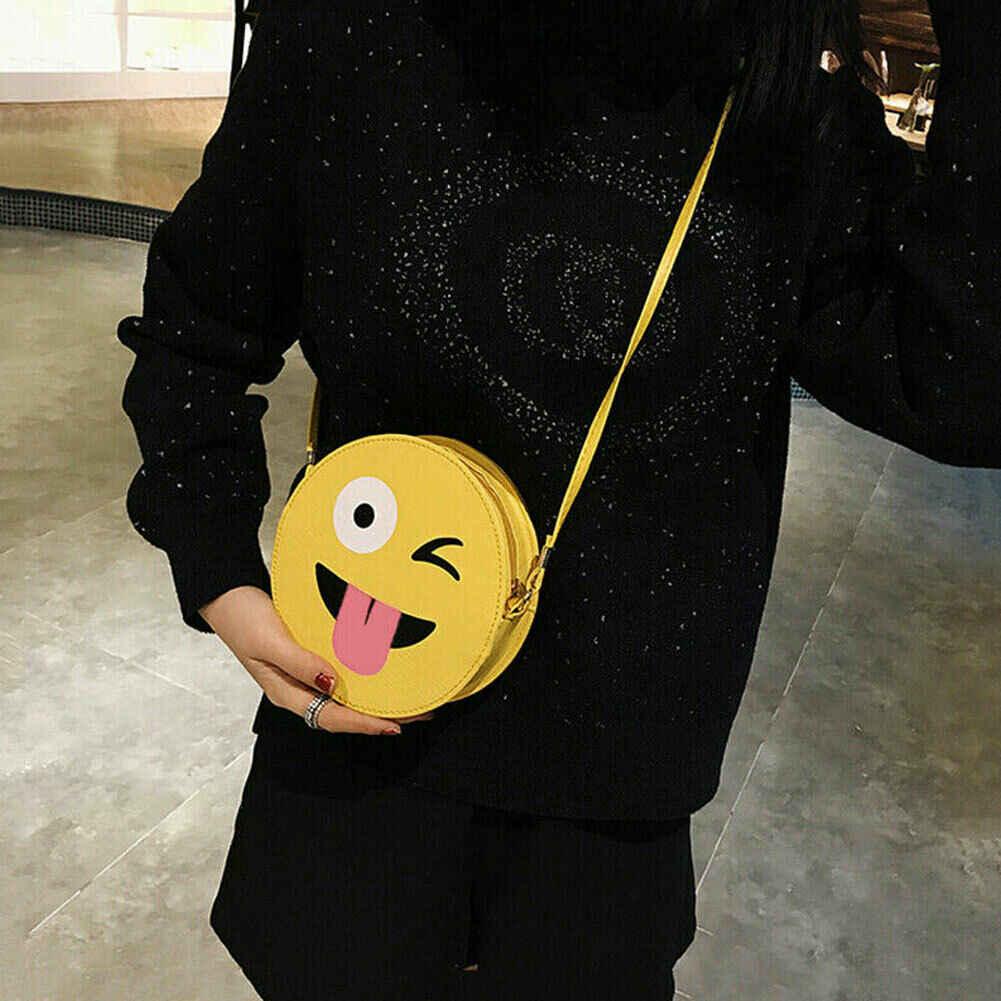 2019 Terbaru Hot Gadis Kawaii Mini Kartun EMOJI Tas Selempang Wanita Bulat PU Bahu Cute Round Tas Anak Tas Sekolah