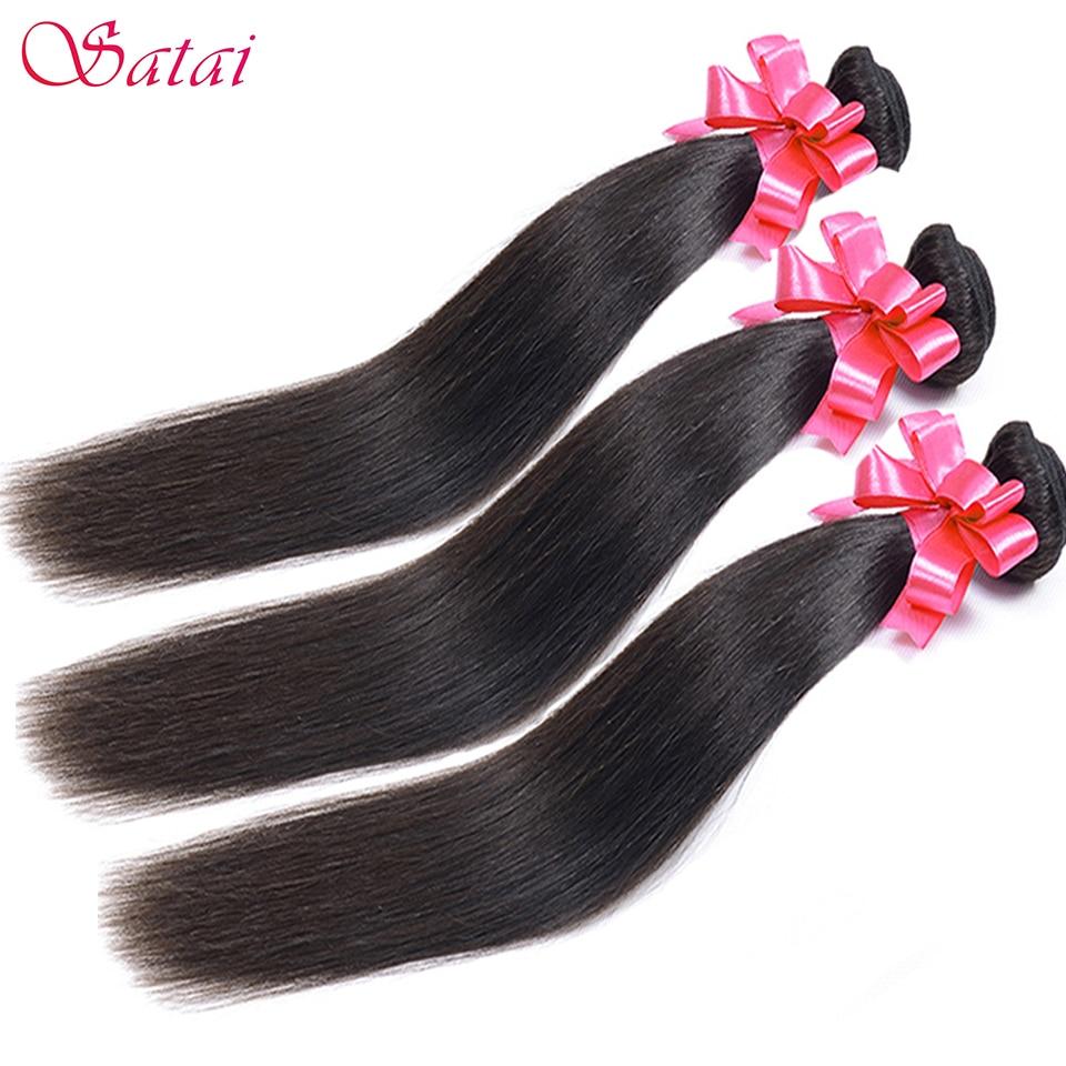SATAI Rambut Lurus Rambut Manusia 3 Bundel 8-28 inch Brazilian - Rambut manusia (untuk hitam)