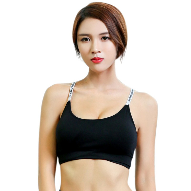 Women Comfortable Breathable Removable Alphabet Straps Yoga Fitness Bra Quick-drying Running Shockproof Sports Underwear