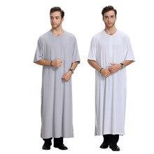 2018 Summer men Muslim dress abaya moroccan turkish cloth robe islamic short sleeve abaya dress o-neck plus size 3XL