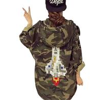 2018 new autumn Harajuku badge patch rocket camouflage military coat coat frock coat for women T558