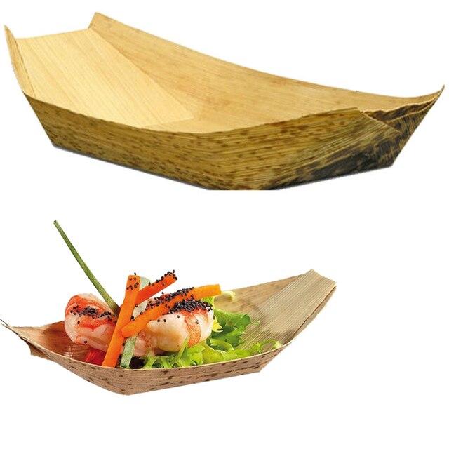 20pcs/lot 7  Disposable bamboo boat Shape Dishes Plates bowl wooden wood tableware japanese  sc 1 st  AliExpress.com & 20pcs/lot 7