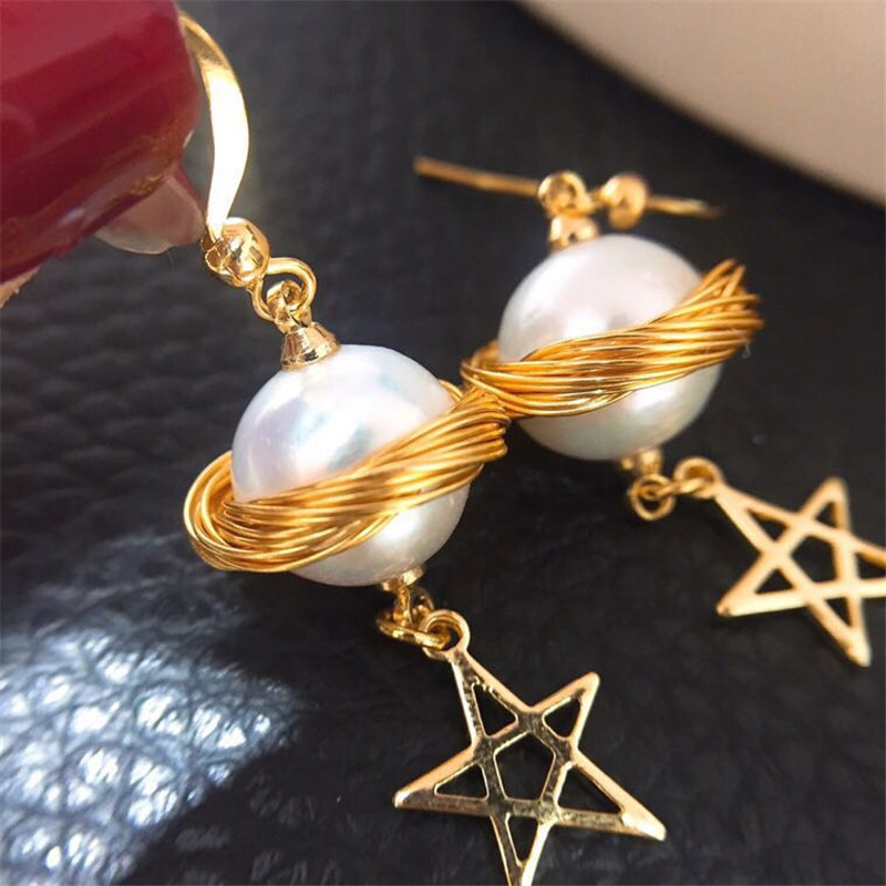AAA baroque Pearl,big baroque pearl earring,with display box,star nature freshwater pearl earring with 925 silver hook For women