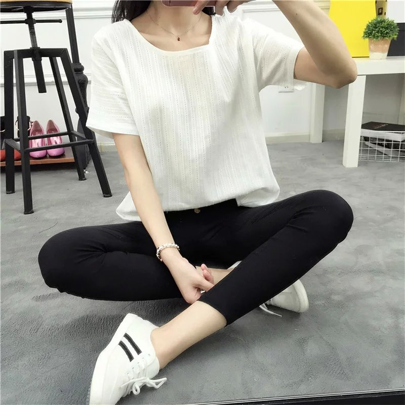 Summer Womens Tees Elegant Hollow Out White Cotton T-shirt Casual Short Sleeve O Neck Shirt Loose Brand Tops