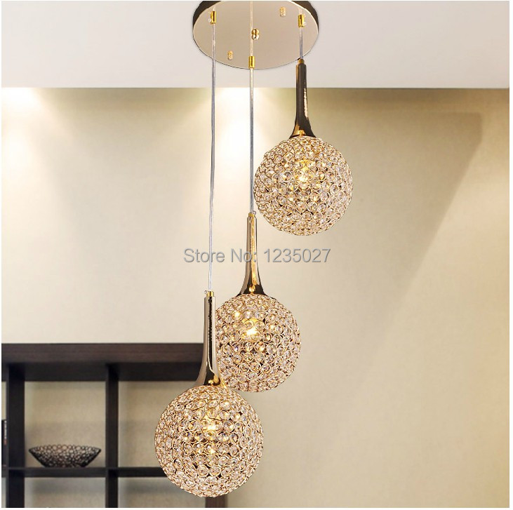 Fast Shipping Modern 3l Round Shaped K9 Crystal Pendant Lamp Art Chandelier Living Room Restaurant Dining