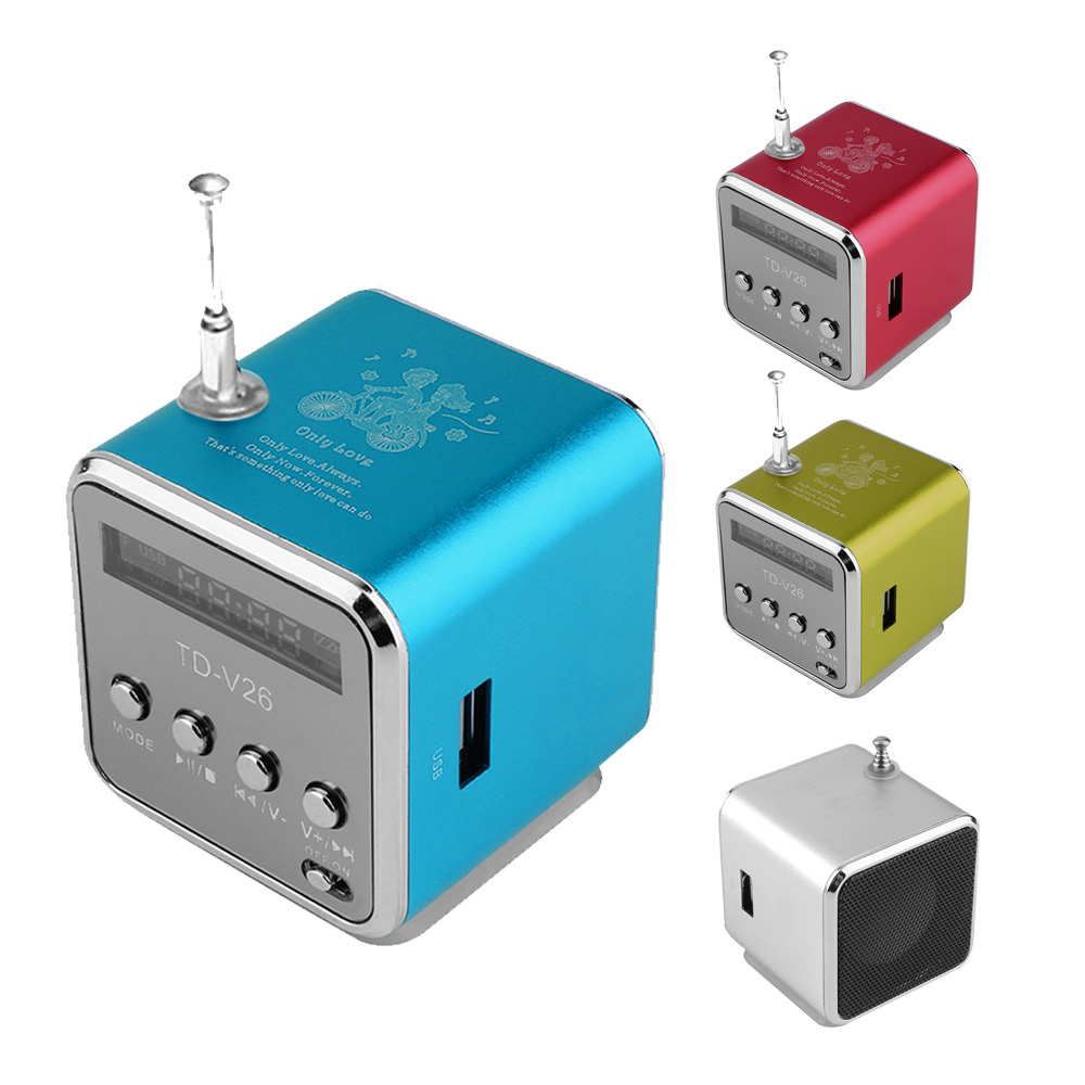 TD V26 Portable Speaker Mini FM Radio Receiver MP3 Music Player LCD ...