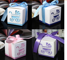 Free Shipping 100pcs Light Blue Hollow Carriage Candy Box Baby Shower Favors Gifts Boxes Supplies