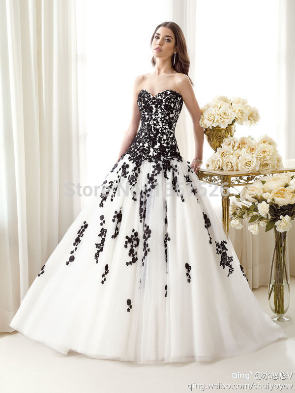 Black Lace Appliqued White Wedding Dresses 2015 Sweetheart Ball ...